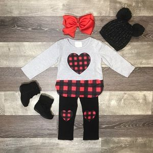Girls boutique buffalo plaid heart patch outfit